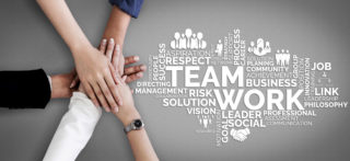 Teamwork and Business Human Resources - Group of business people working together as successful team building strength and unity for organization. Partnership, agreement and teamwork concept.